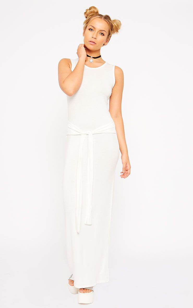 Annie Cream Tie Front Maxi Dress 1
