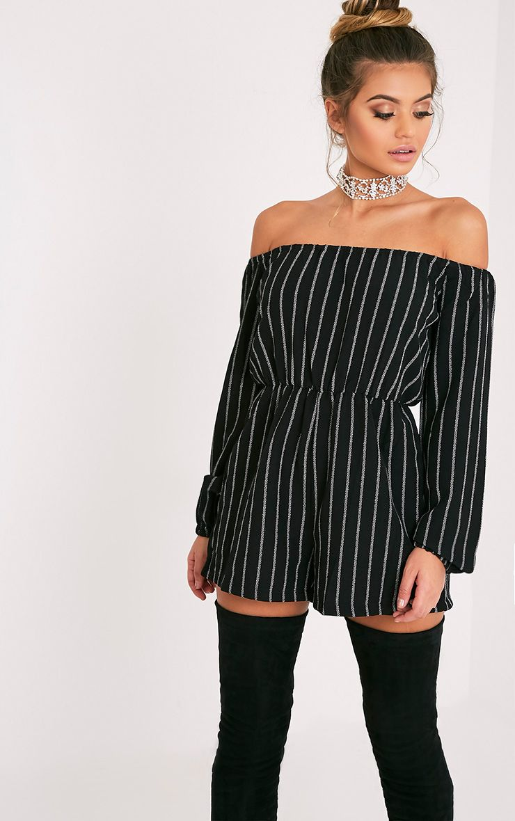 Kennie Monochrome Striped Bardot Playsuit