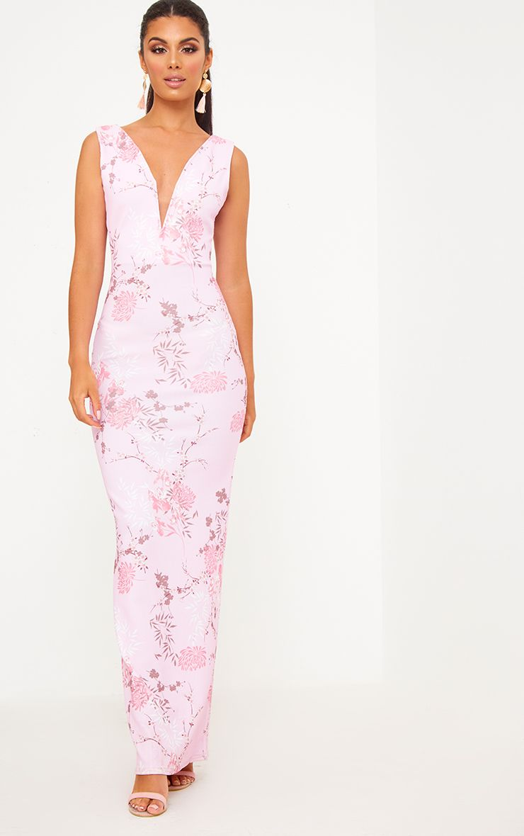 Pink Floral Plunge Maxi Dress