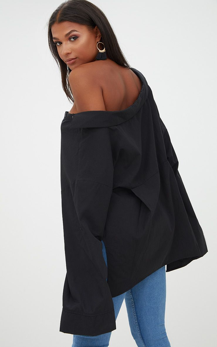 chemise noire oversized paule tombante tops. Black Bedroom Furniture Sets. Home Design Ideas