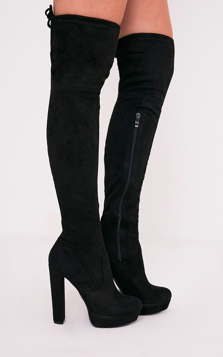 Elisabeth Black Faux Suede Platform Thigh High Boots