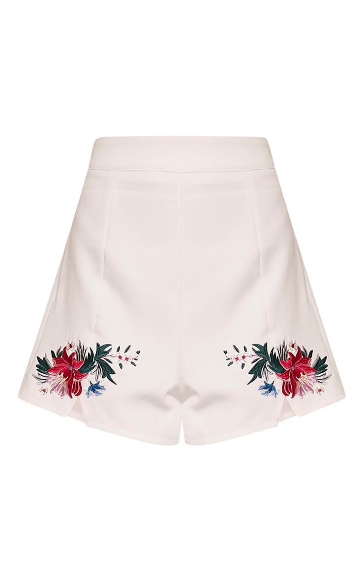 Charis cream floral embroidered shorts