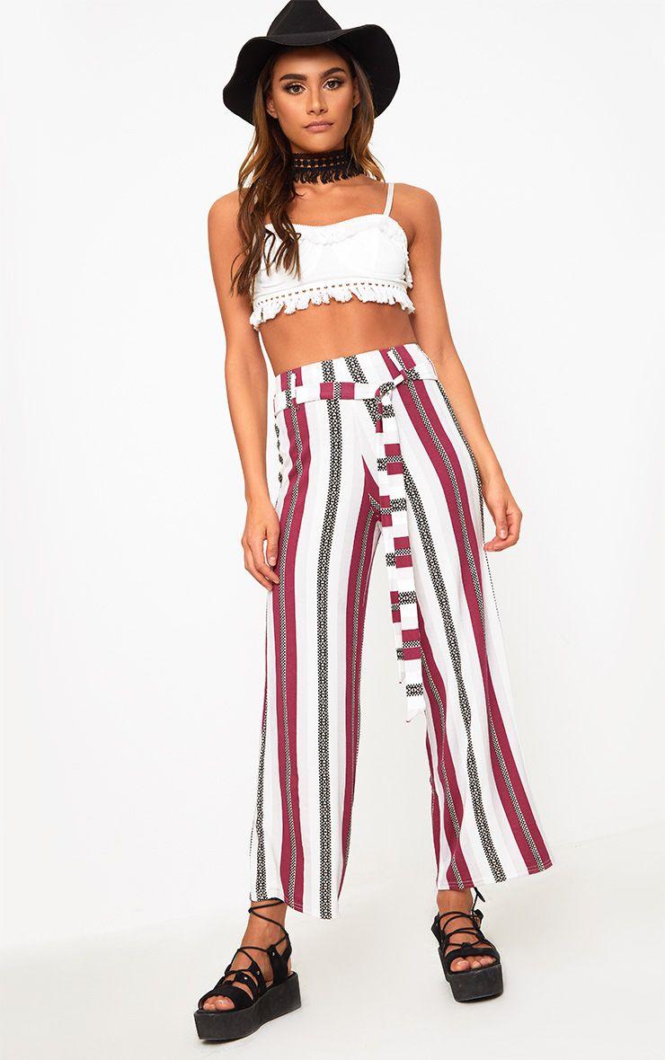 Berry Printed Stripe Longline Culottes