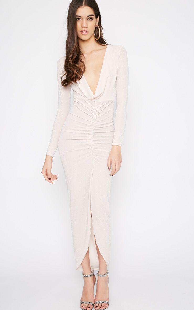 Kiera Champagne Glitter Ruched Maxi Dress 1