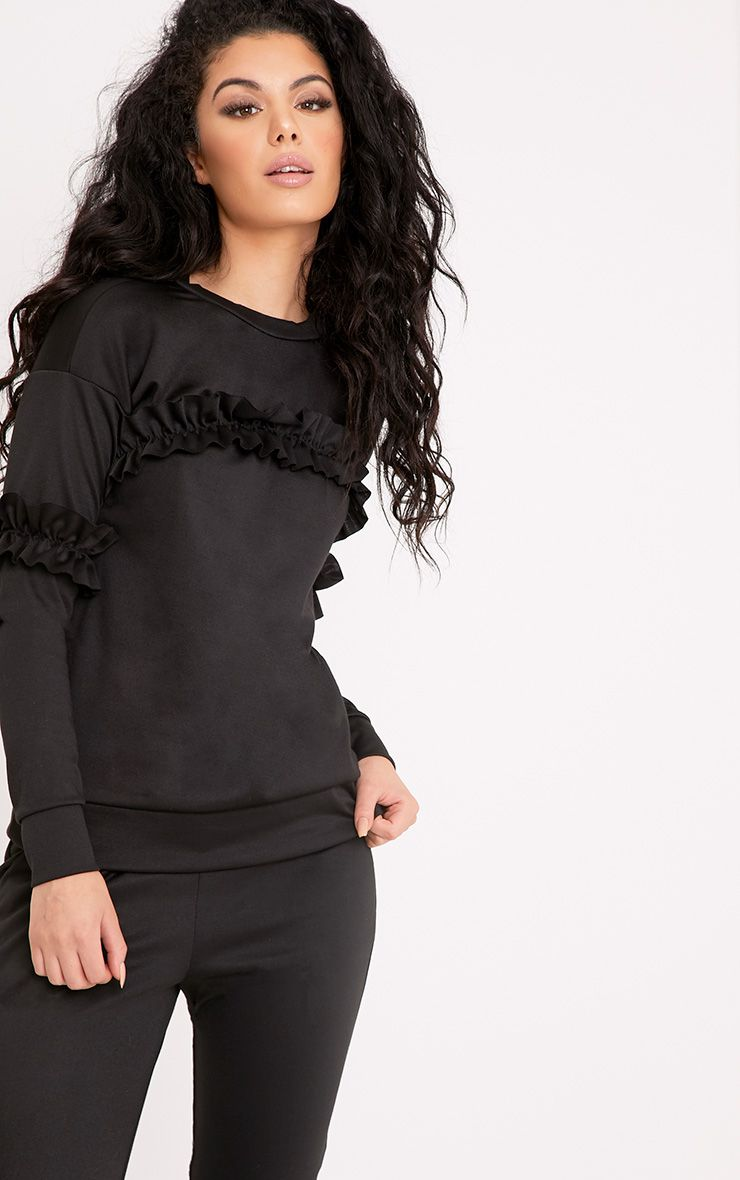Anabell Black Frill Sweater