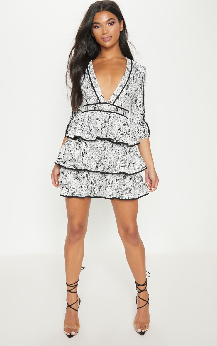 White Lace Contrast Trim Plunge Tiered Skater Dress
