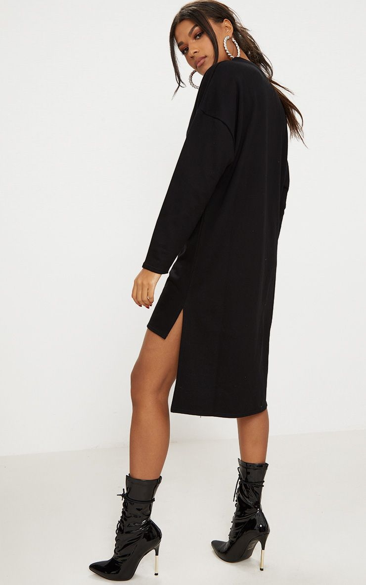 Black Loop Back Step Hem Sweater Dress