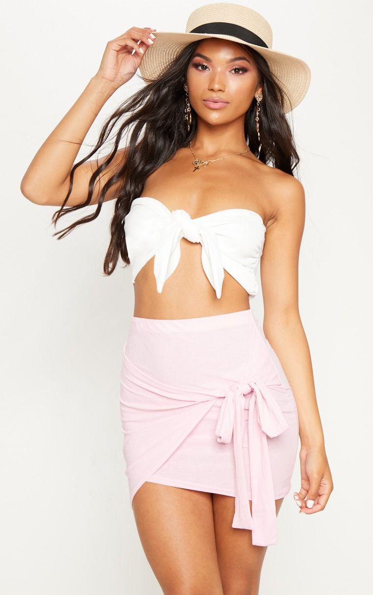 Pink Sheer Lightweight Wrap Tie Skirt
