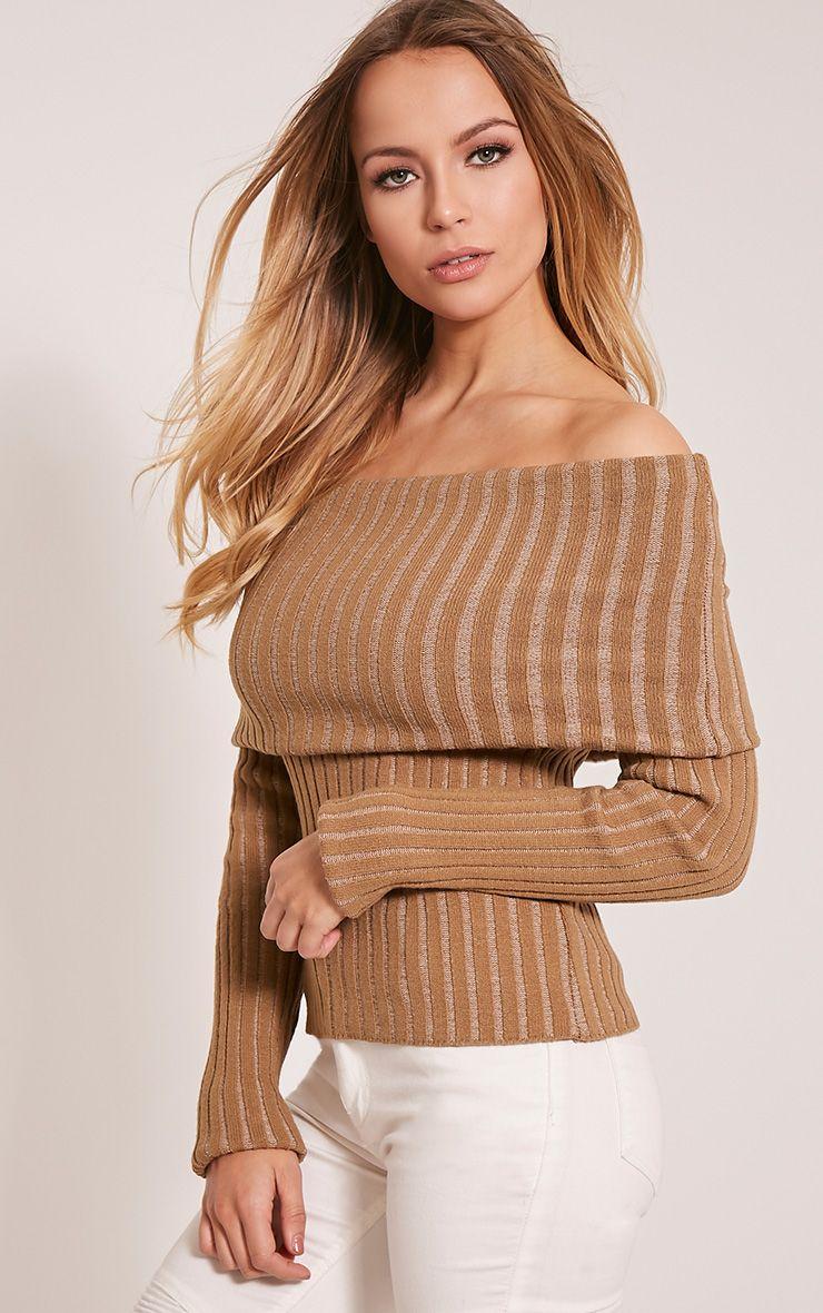 Robyn Camel Bardot Crop Jumper 1