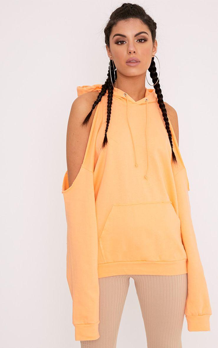 Leonah Orange Cold Shoulder Oversized Hoodie