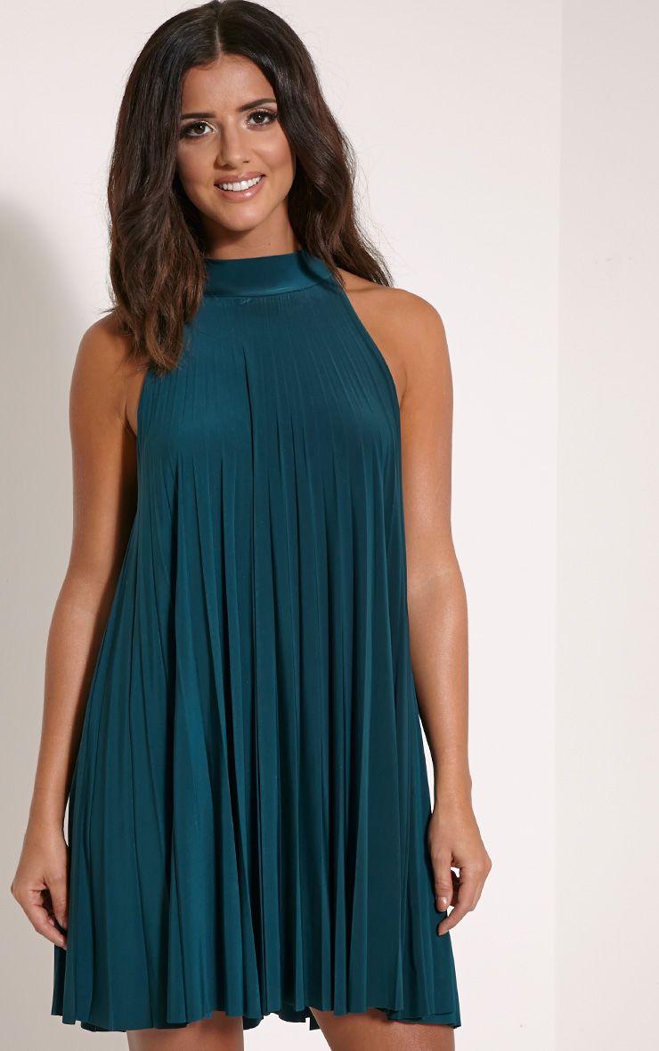 Linzi Bottle Green Pleat Tie Neck Mini Dress 1