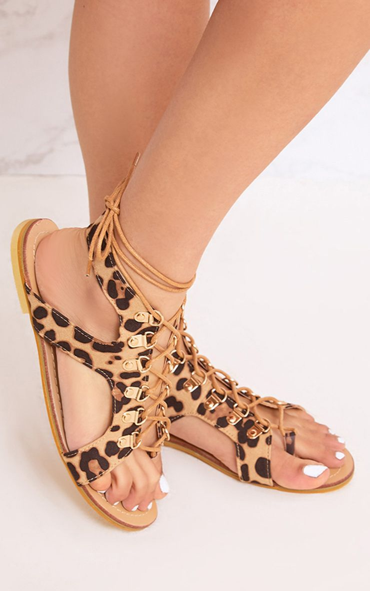 Nerina Animal Print Lace Up Gladiator Sandals