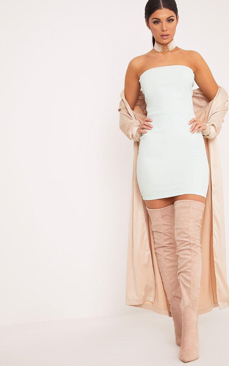 Loriella Mint Textured Bandeau Bodycon Dress