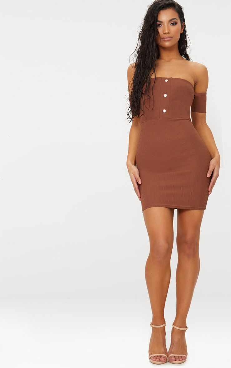 Brown Bardot Popper Detail Bodycon Dress