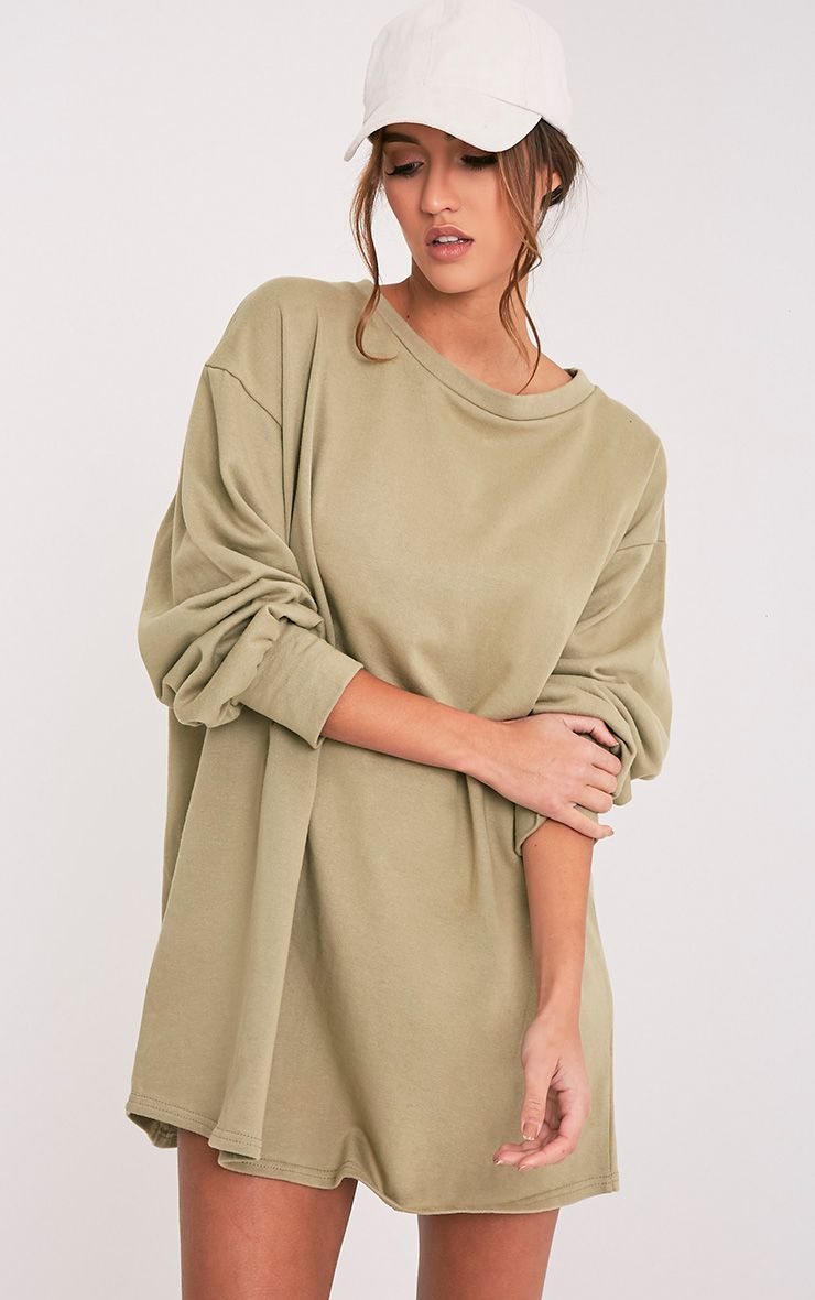 Sage Green Oversized Sweater Dress Dresses