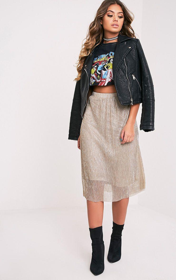 Karis Gold Metallic Crinkle Midi Skirt