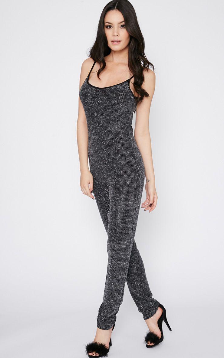 Adila Black Glitter Jumpsuit  1