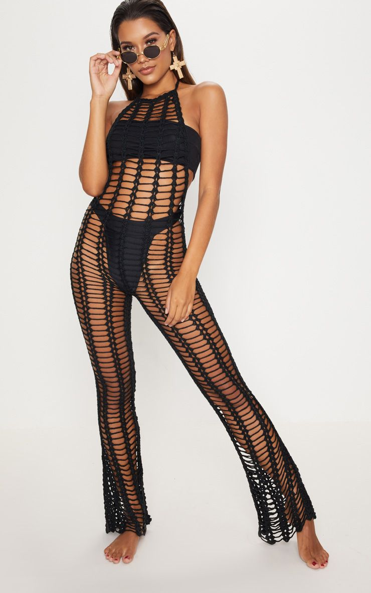 Black Crochet Jumpsuit