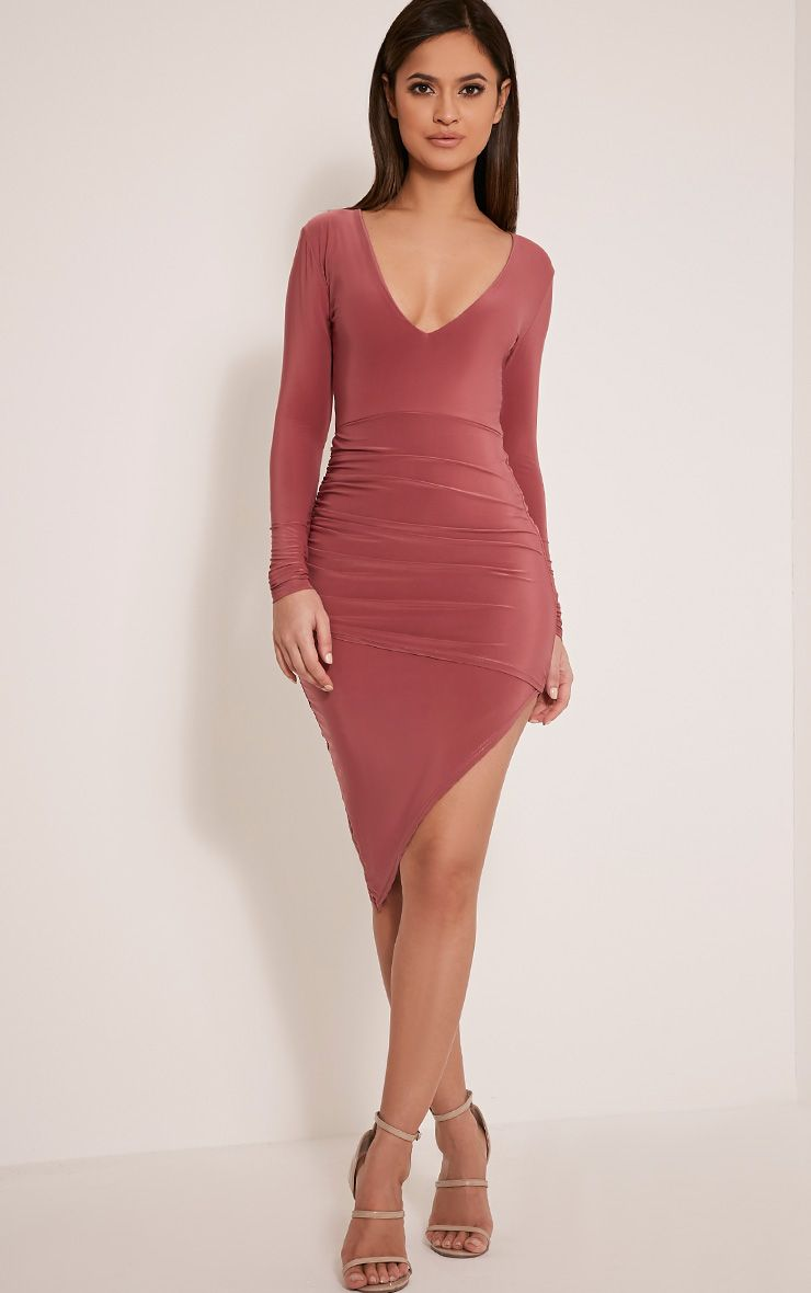 Una Rose Plunge Neck Ruched Asymmetric Dress 1