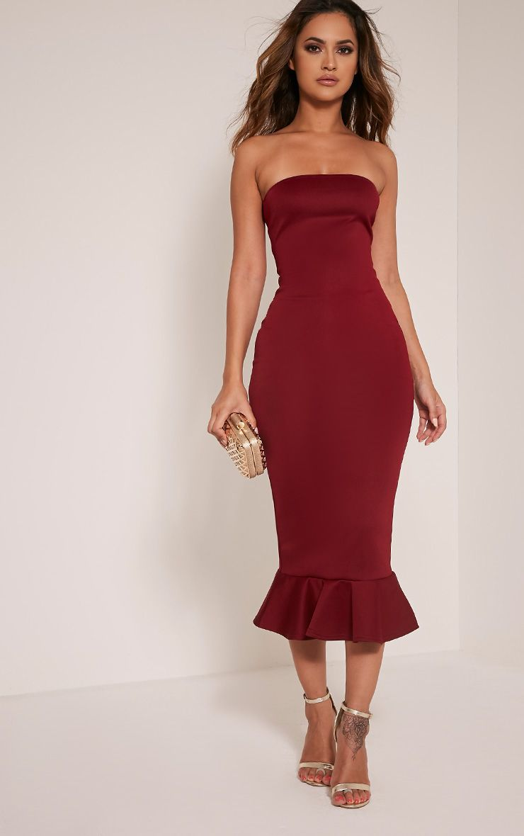 Isabella Burgundy Bandeau Frill Hem Midaxi Dress