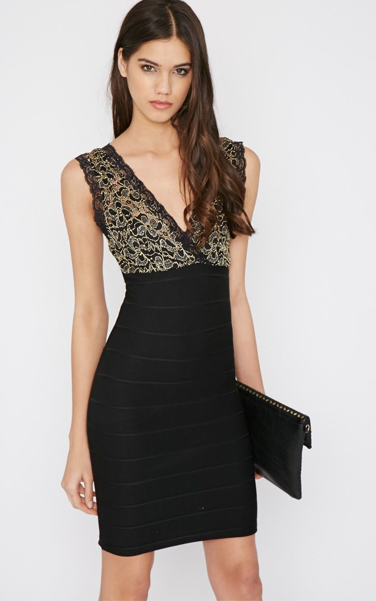 Karissa Black and Gold Lace Bandage Dress 1