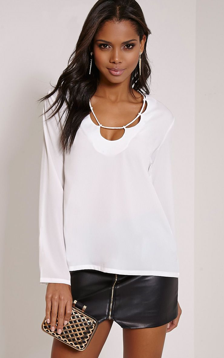 Remie Cream Lace Up Floaty Blouse 1