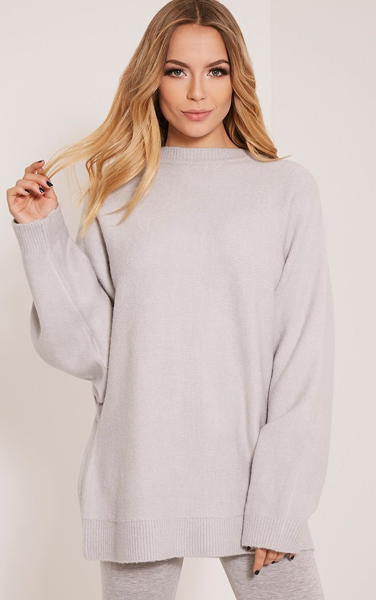 Raysa Silver Oversized Knitted Jumper
