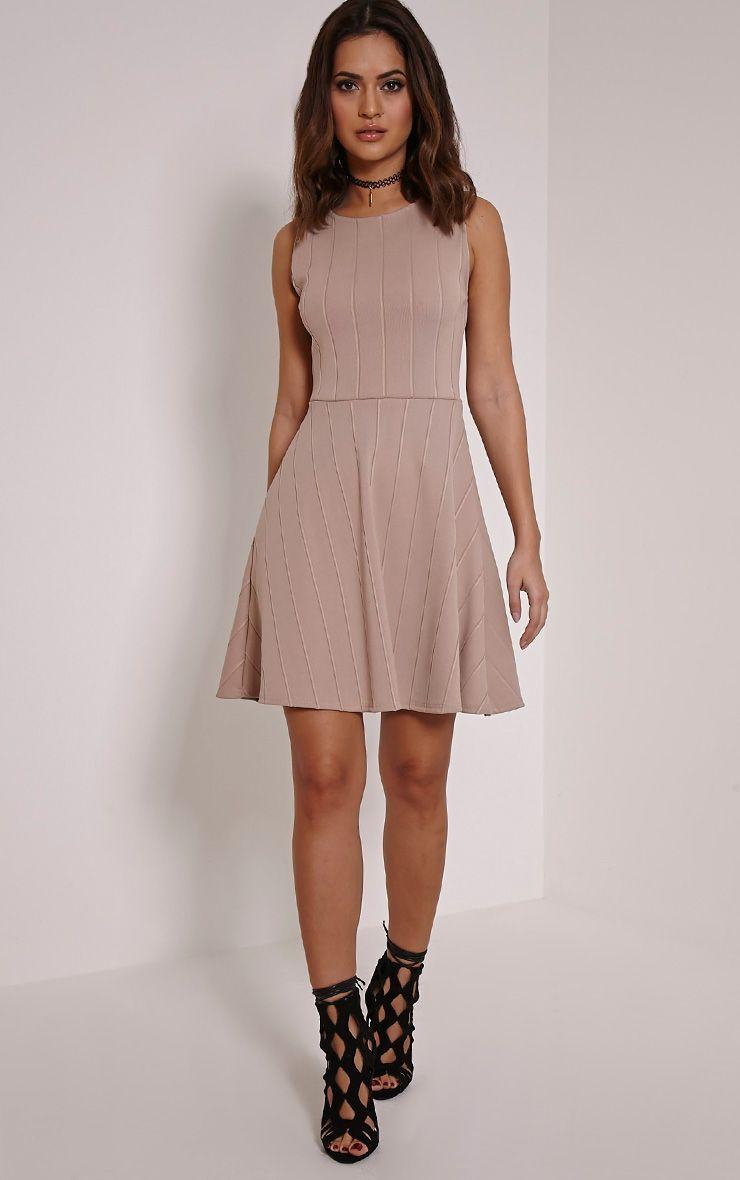 Millie Taupe Bandage Skater Dress 1