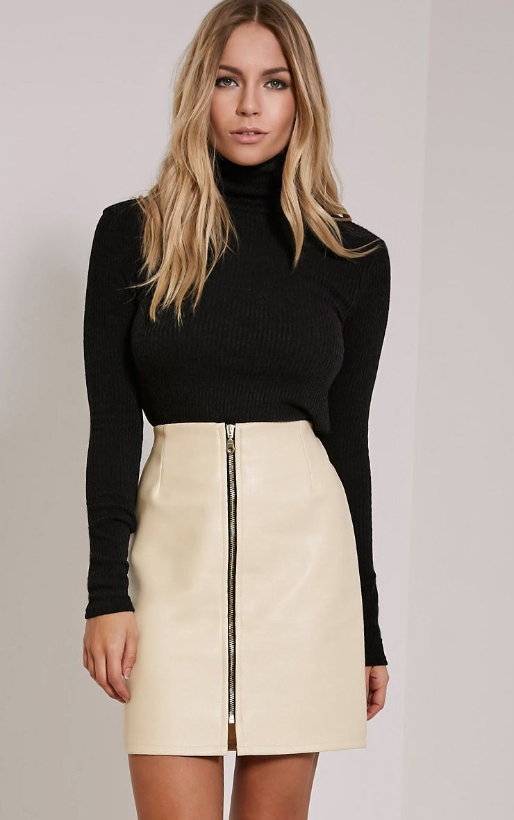 Chandra Cream Faux Leather Zip Up Mini Skirt 1