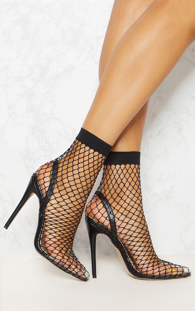 Black Fishnet Slingback Pointed Toe Heels