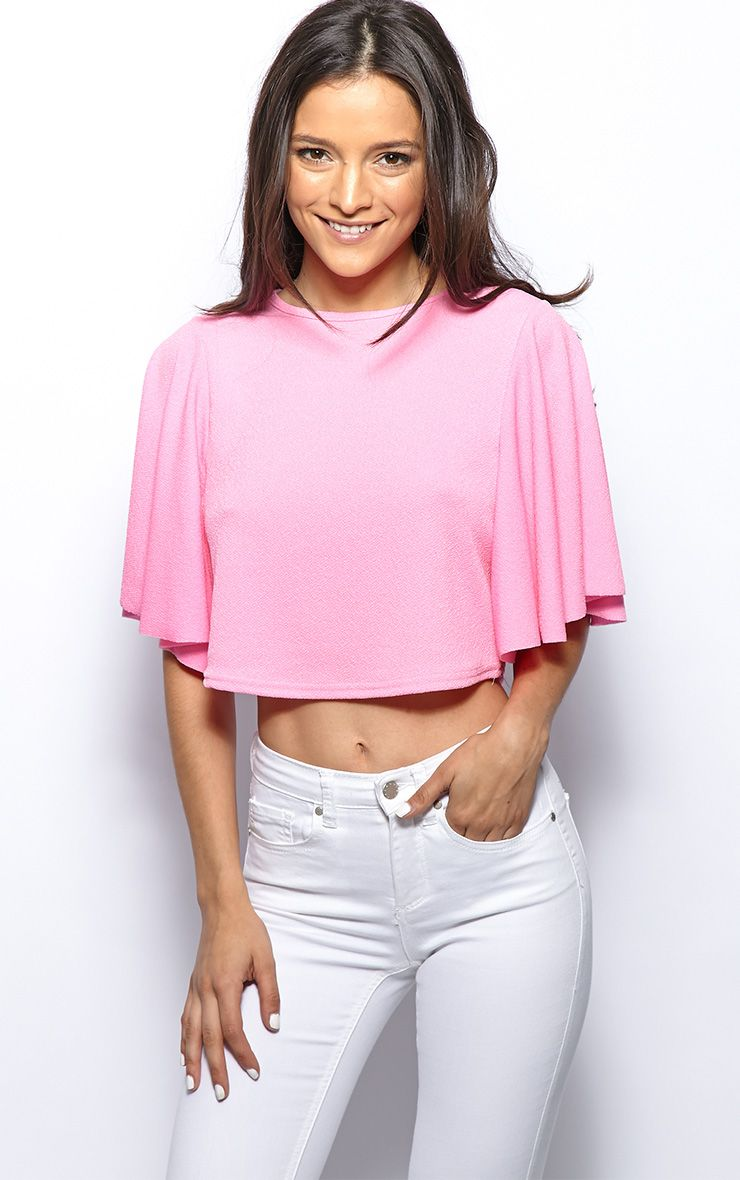 Amelie Pink Frill Sleeve Crop Top 1