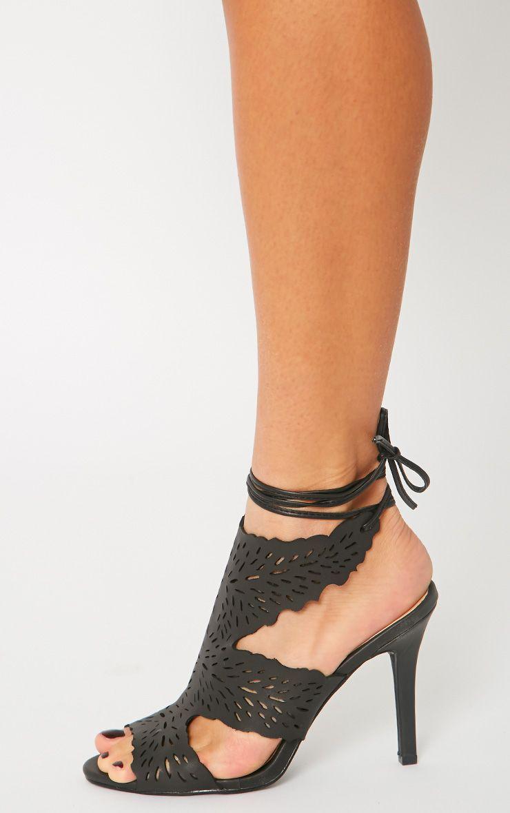Felicita Black Leather Lazer Cut Tie Up Heeled Sandal 1