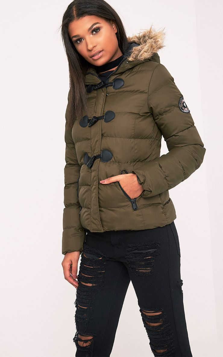 Sakinah Khaki Faux Fur Trim Hooded Jacket 1