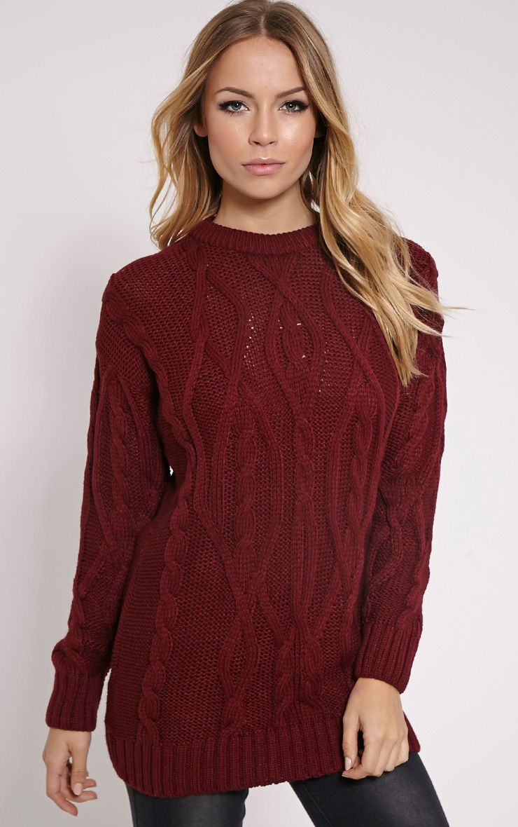 Moon Wine Cable Knit Mid Jumper 1