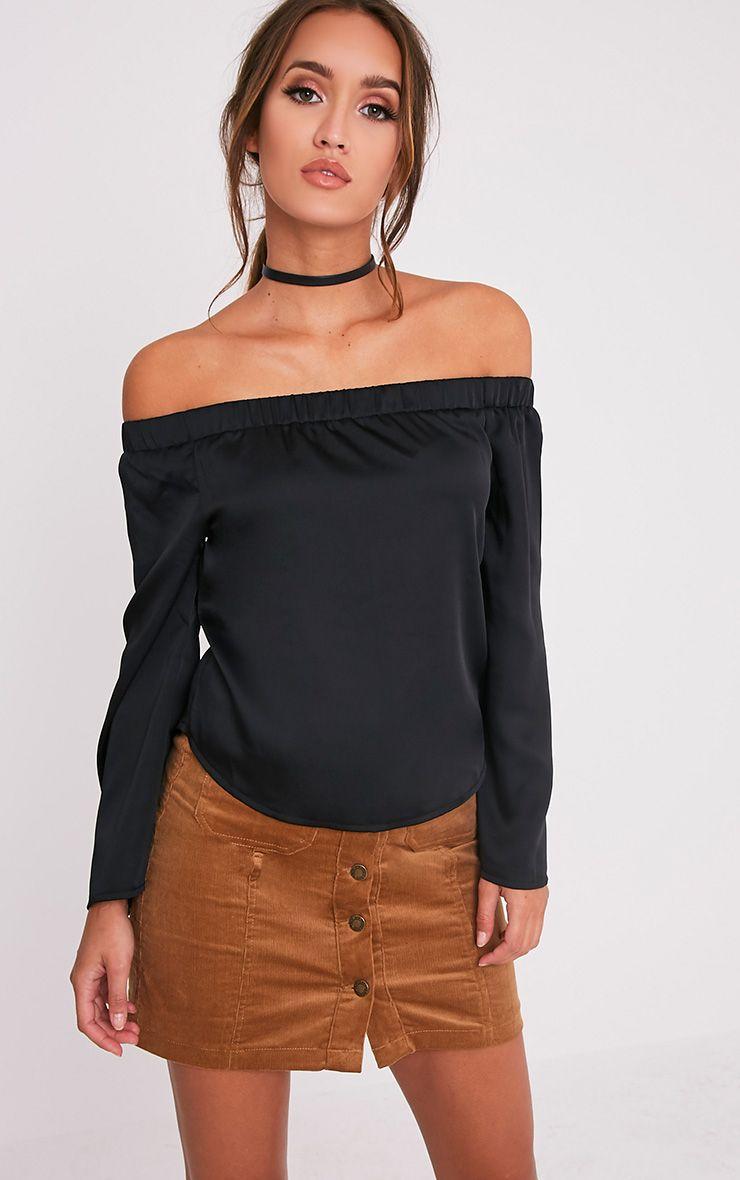 Solenne Black Satin Bardot Top