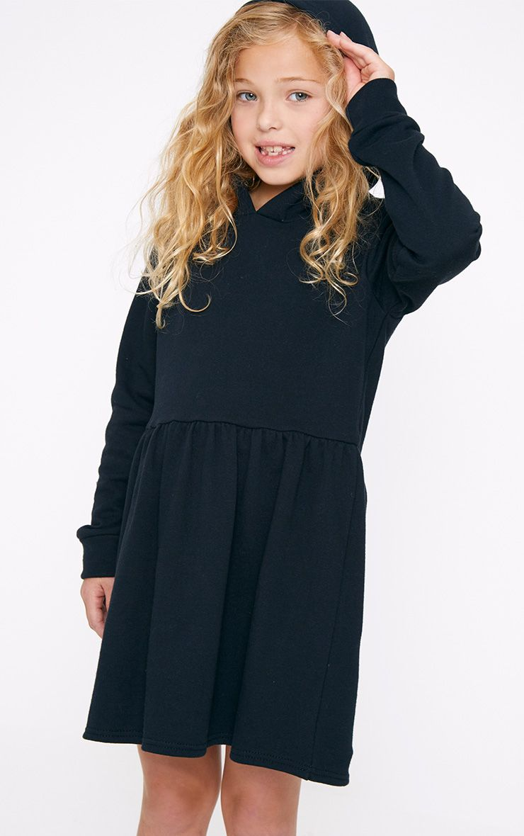 Black Hooded Skater Dress