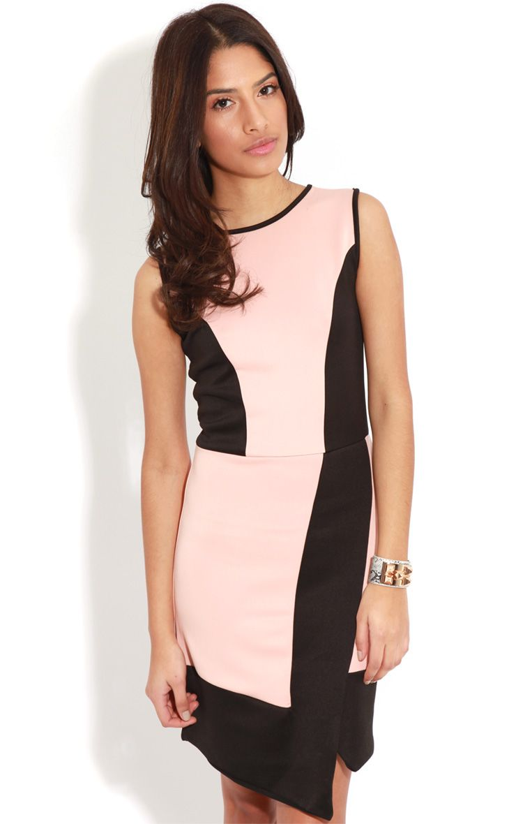 Reanne Pink Panelled Wrapover Dress 1