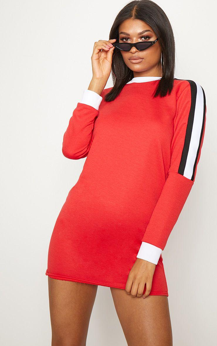 Red Sport Stripe Long Sleeve Jumper Dress