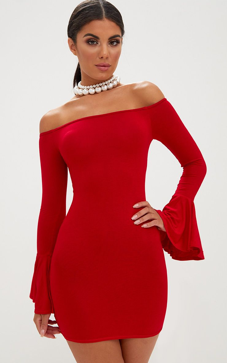 Red Frill Sleeve Bardot Bodycon Dress