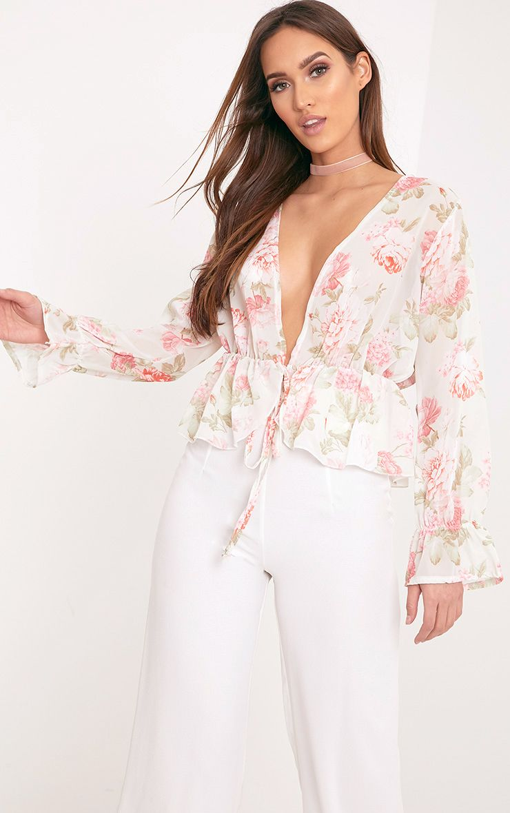 Femie Nude Floral Print Plunge Blouse