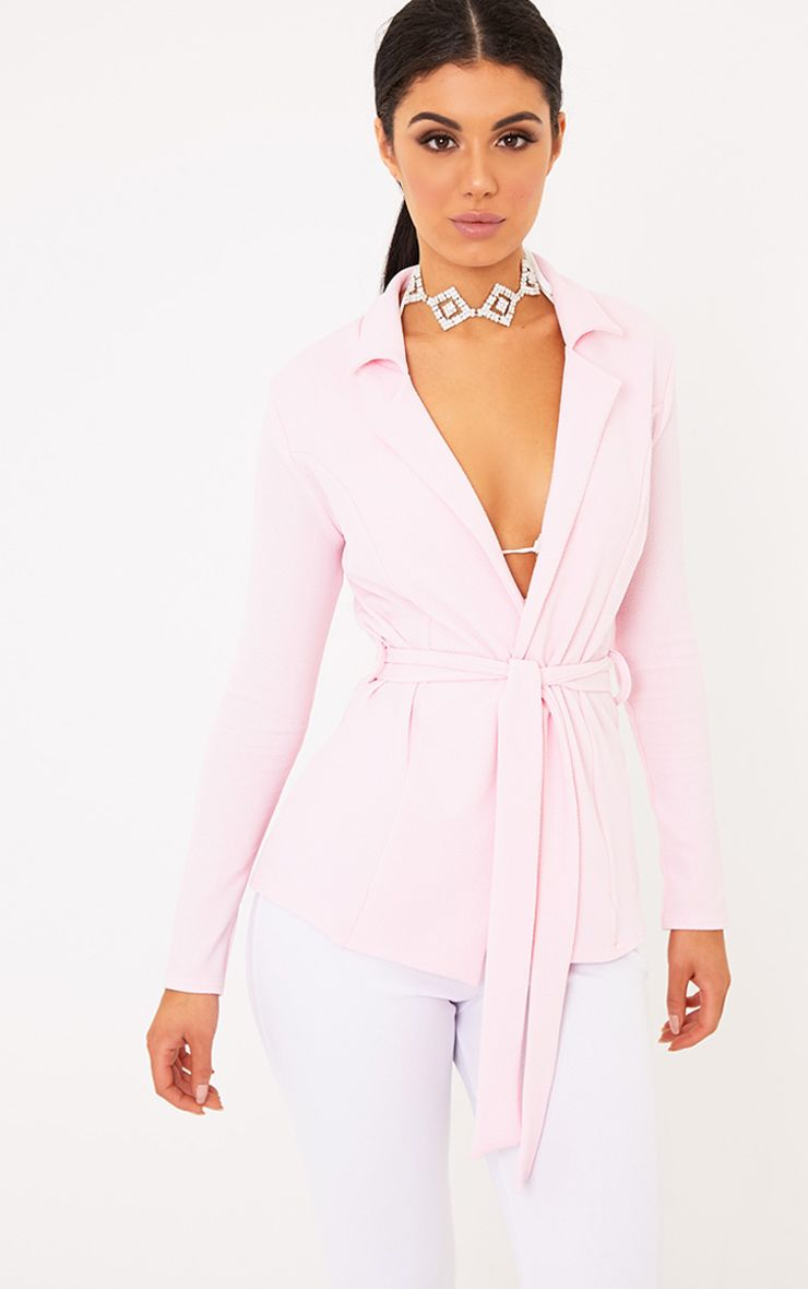 Erma Pink Petite Belted Blazer