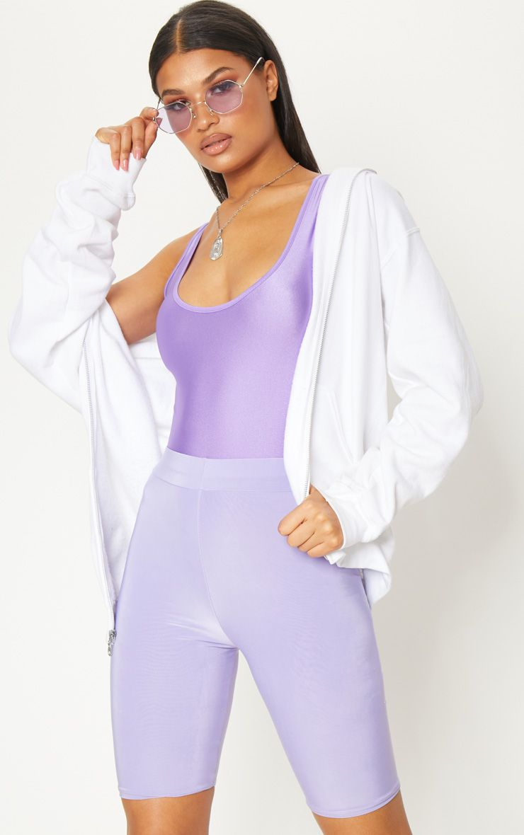 Lilac Disco Scoop Neck Bodysuit
