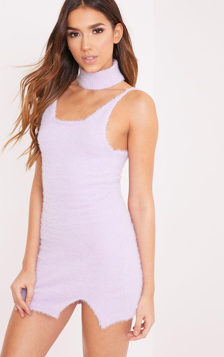 Kaytleen Lilac Fluffy Knit Choker Mini Dress
