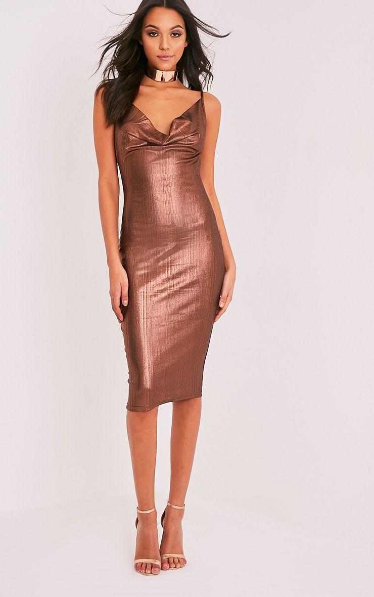 Cotti Bronze Cowl Neck Lurex Midi Dress 1