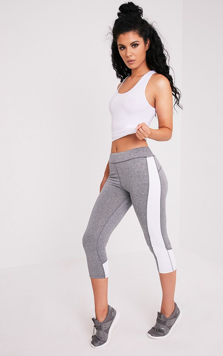 Fion White Panelled Cropped Gym Leggings