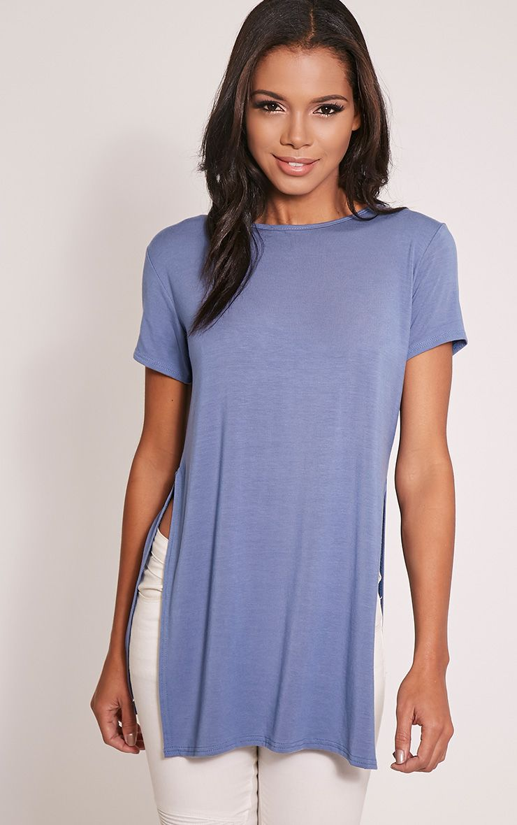 Basic Petrol Blue Side Split T-Shirt