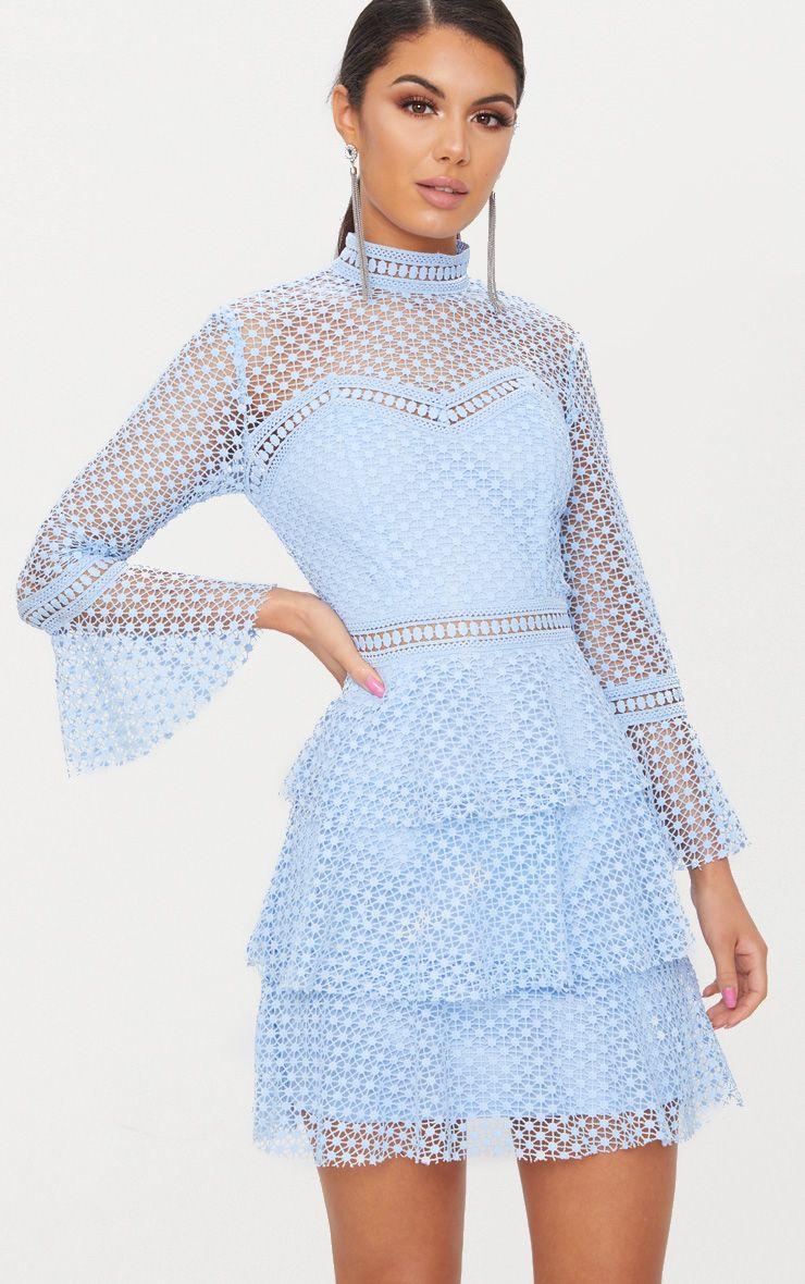 Dusty Blue Flare Sleeve Lace Tiered Mini Dress