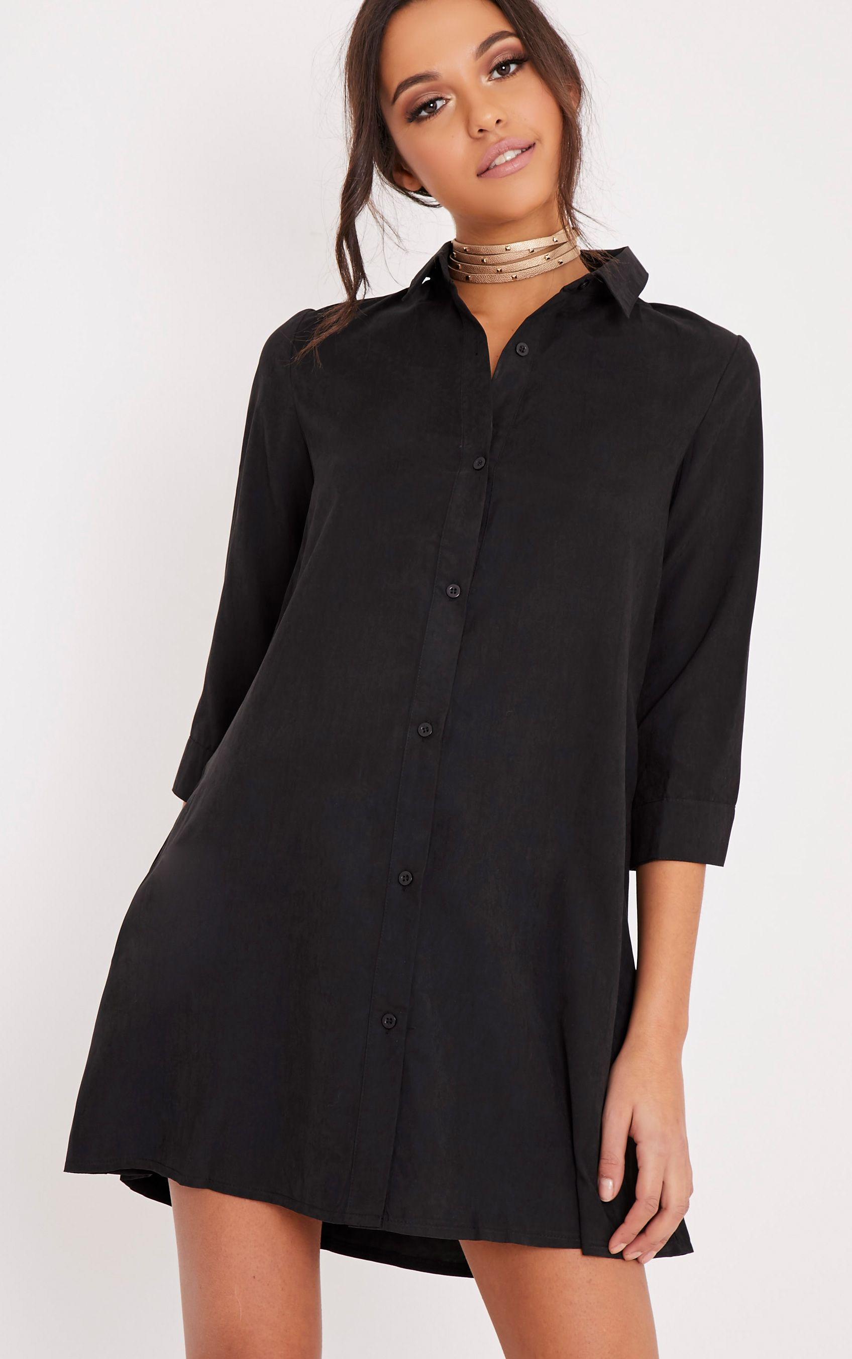 Leni Black Shirt Dress