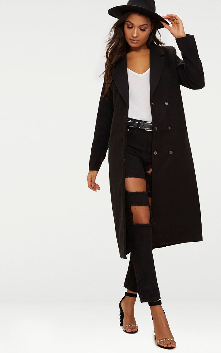 Salana Black Longline Double Breasted Coat 1