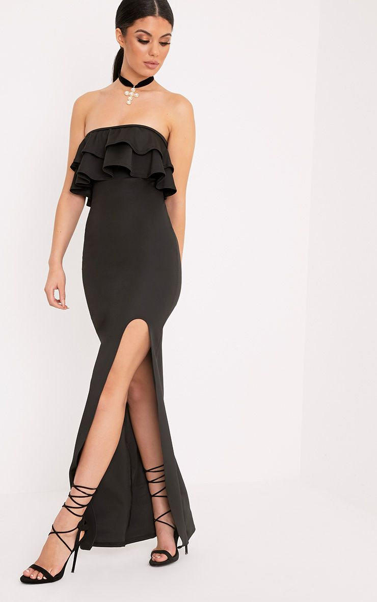 Angelique Black Frill Bandeau Maxi Dress
